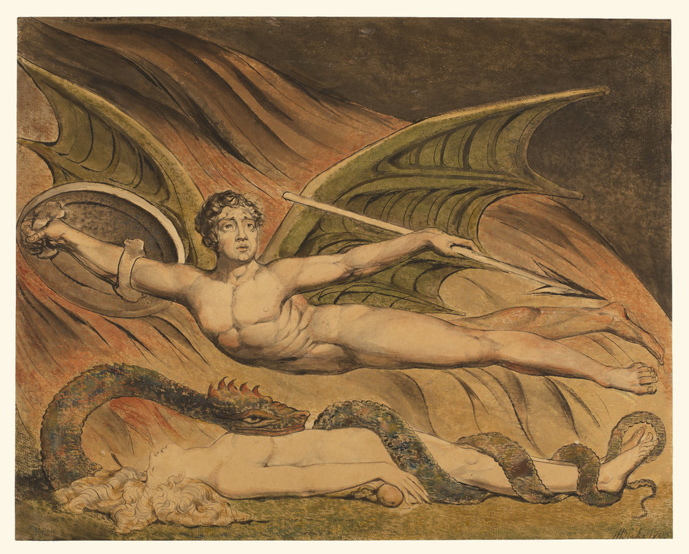 William Blake (British, 1757 - 1827), / Satan Exulting over Eve /  British, 1795, Graphite, pen and black ink, and watercolor, 42.5 × 53.5 cm (16 3/4 × 21 1/16 in.), 84.GC.49 / Getty Open Content